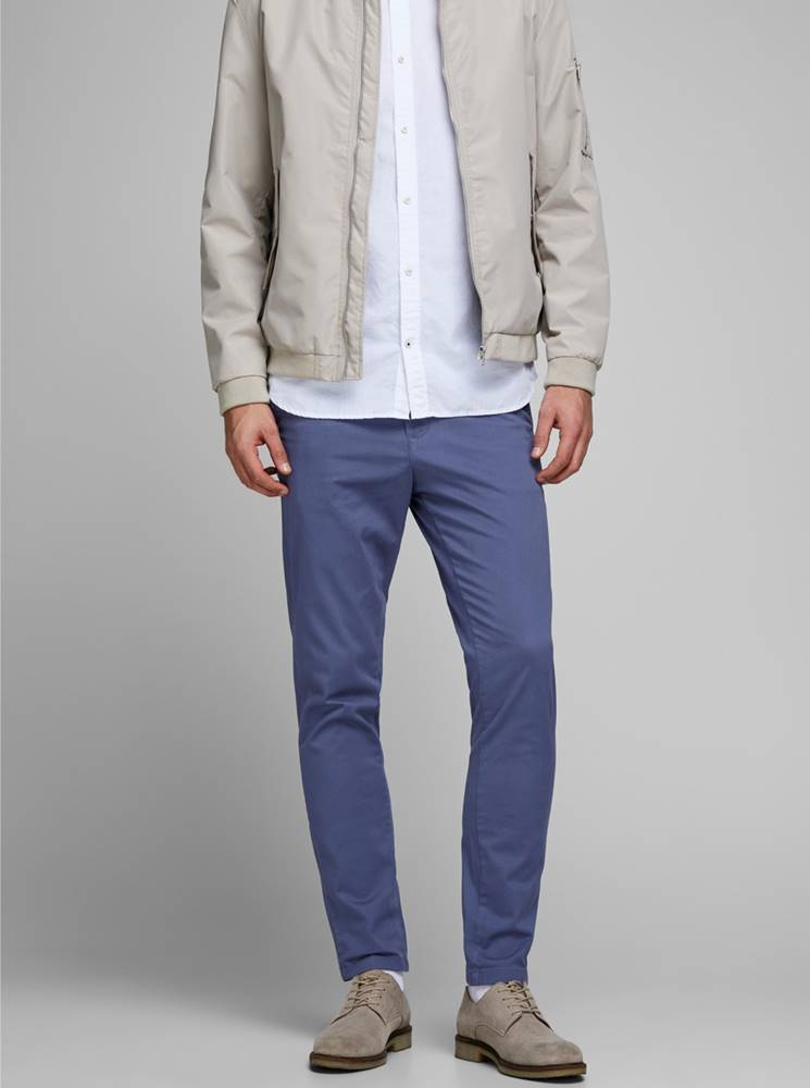 Jack & Jones Modré chino nohavice Jack & Jones Marco